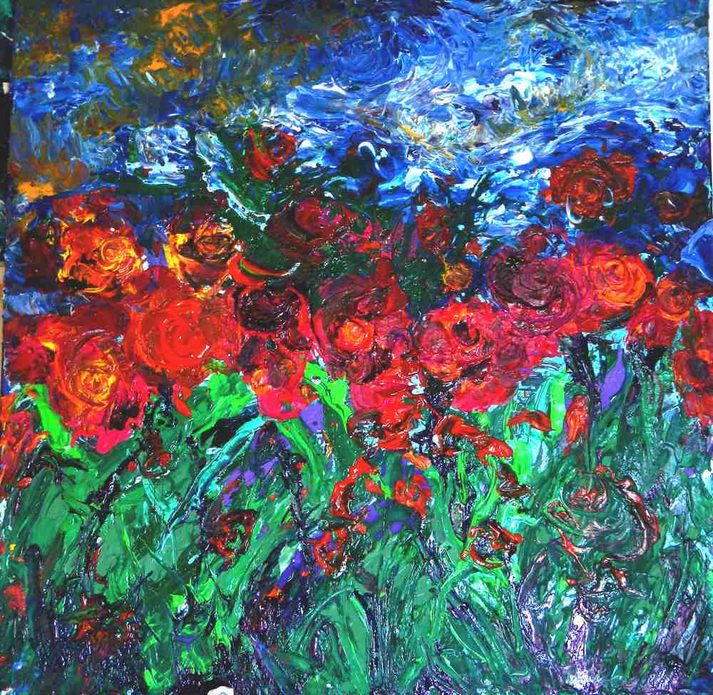 Jardin 2015 acrylique enduit sur toile artiste peintre for Jardin bioves 2015