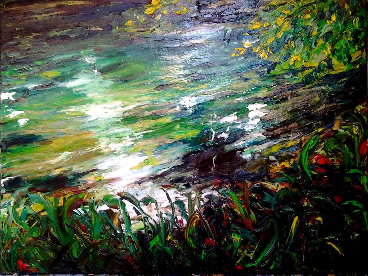 Super La rivière de Marie-france,60x80, huile,tableau d'Artiste peintre  LM57