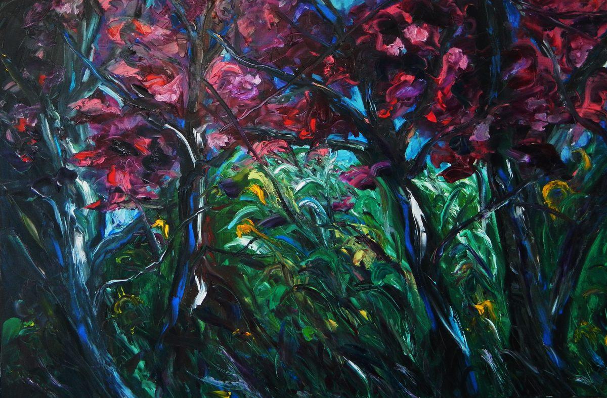 Sous bois huile 100x150,tableau d'Artiste peintre expressionniste Florence Gautier.