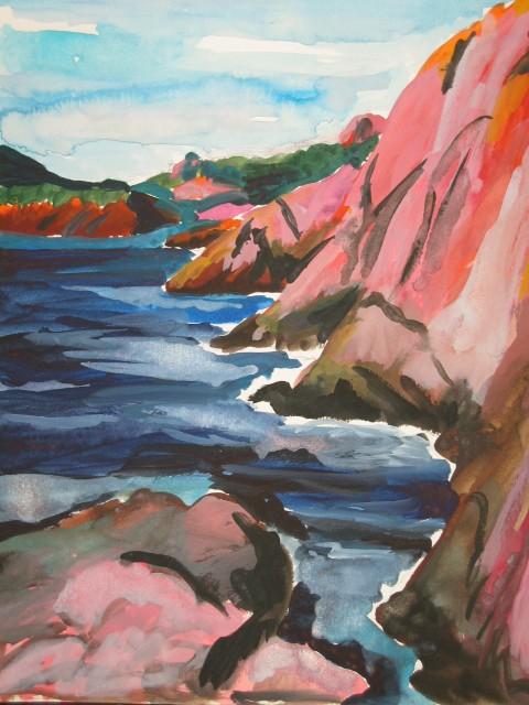 Top barthelemy, aquarelle sur papier 32 X 24,artiste peintre moderne  QV87